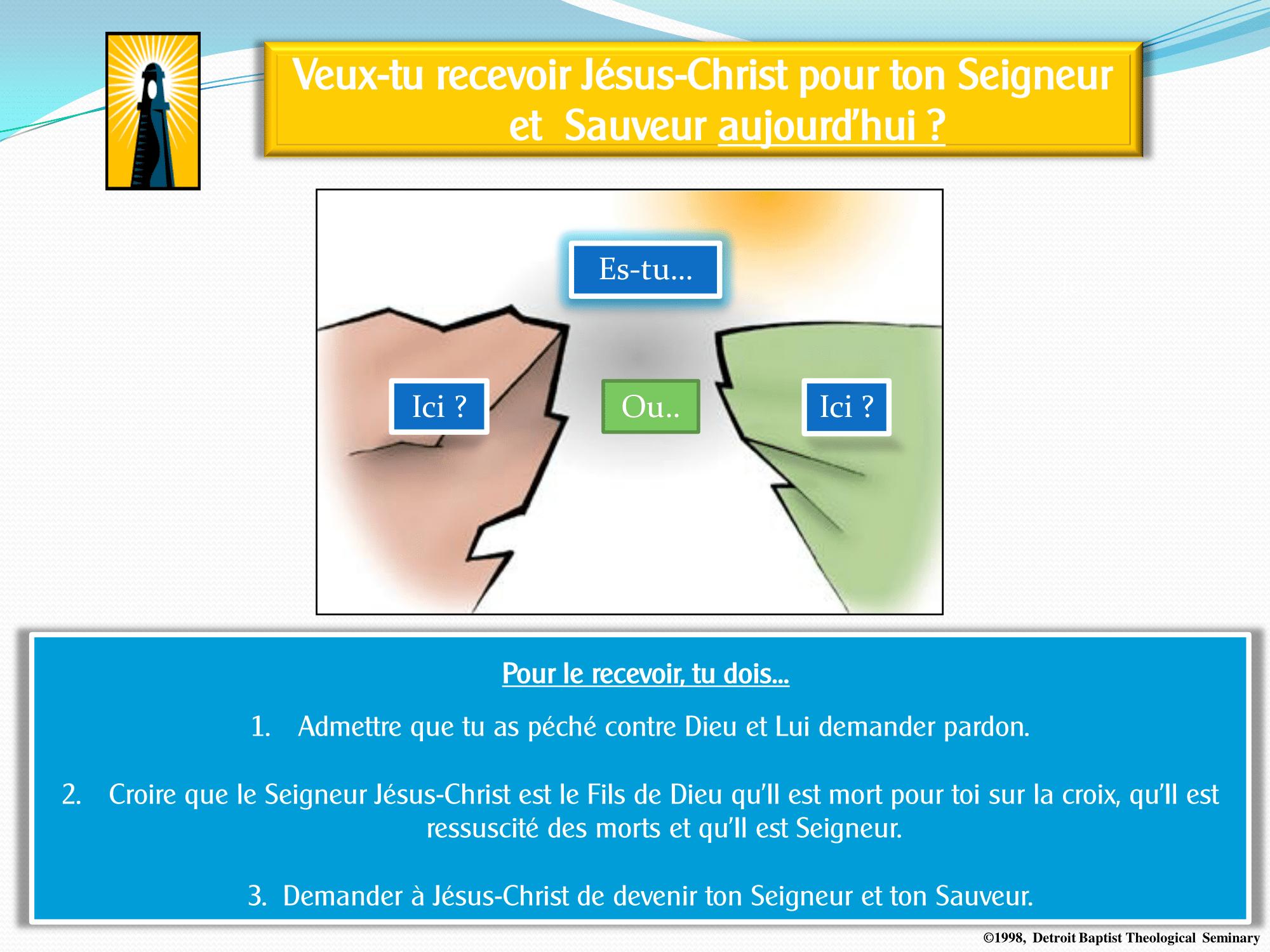Veux-tu recevoir Jésus-Christ pour ton Seigneur et Sauveur aujourd'hui